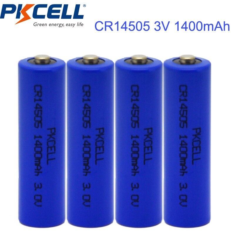 4PCS PKCELL CR14505 CR 14505 <font><b>Battery</b></font> <font><b>3V</b></font> 1400mAh Cylindrical <font><b>Li</b></font> MnO2 <font><b>Battery</b></font>