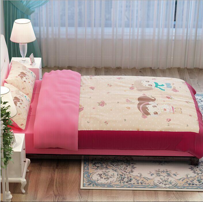 Cartoon quilts bedding sets single twin queen king orange pink comforter duvet cover kids bedspreads 3/4 pcs bed sheet