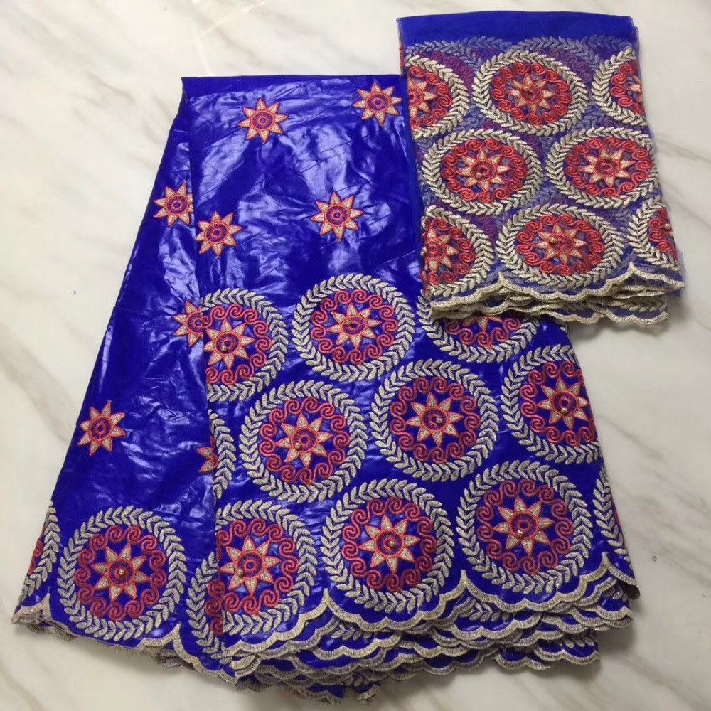 5 Yards 2 Yards India Bazin Riche Getzner Lace Fabric 2019 With Blouse Blue Color Beaded