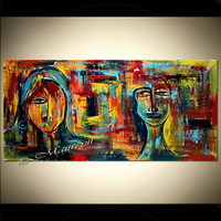 Hand Painted Modern Abstract Gift Idea Painting Oil Painting On Canvas Wall Living Room Decor Canvas