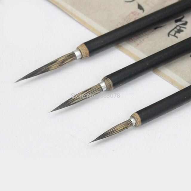 3pcs/set Copper head Hook Line Fine Paint Brush Chinese Calligraphy Brush Pen Paint Brush Art Stationary Oil Painting Brush 3