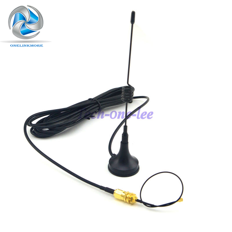 433Mhz Antenna 5dbi SMA Plug Connector Straight Wifi for Ham Radio + SMA female bulkhead to Ufl./IPX pigtail cable 1.13 15cm