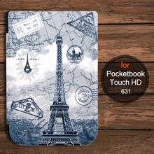Para 2016 pocketbook touch hd 631 ereader inteligente caso de la cubierta protectora + protector de pantalla + stylus