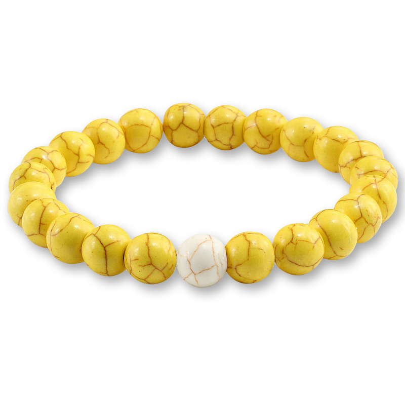 Trendy Yellow Natural Stone Beads Charm Bracelets & Bangles for Women Round Beaded Strand Bracelet Men Jewelry Pulseira Feminina 2