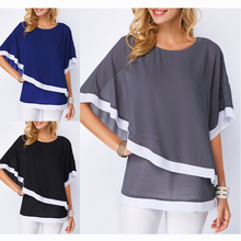 JULY Summer womens chiffon shirt solid color Patchwork Double layer Women Blouse Casual Sexy Batwing tunic 5XL Plus size
