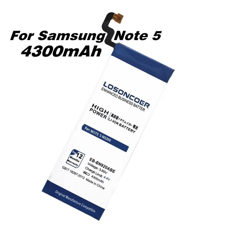 imágenes para LOSONCOER Envío de la Nueva 4300 mAh Batería para Samsung GALAXY Note 5 Batería N9200 EB-BN920ABE N920t Proyecto Noble