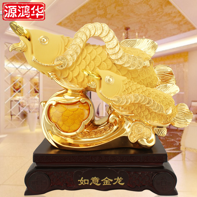 2016 Time Limited Home Decoration Accessories New New Resin Ruyi Golden Dragon Fish