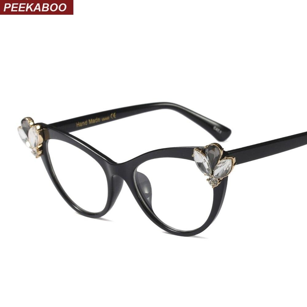 eef229a9e1c1 Detail Feedback Questions about Peekaboo rhinestone cat eye glasses frames  for women brand designers sexy decorative eyeglasses women accessories black  ...