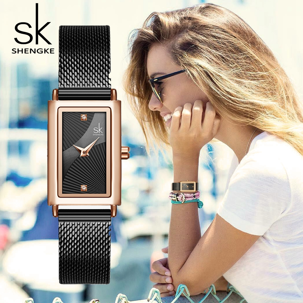 SHENGKE Women's Watch Fashion Luxury Black Watch For Women Stainless Steel Women Watch Relogio Femino Reloj Mujer Zegarek Damski