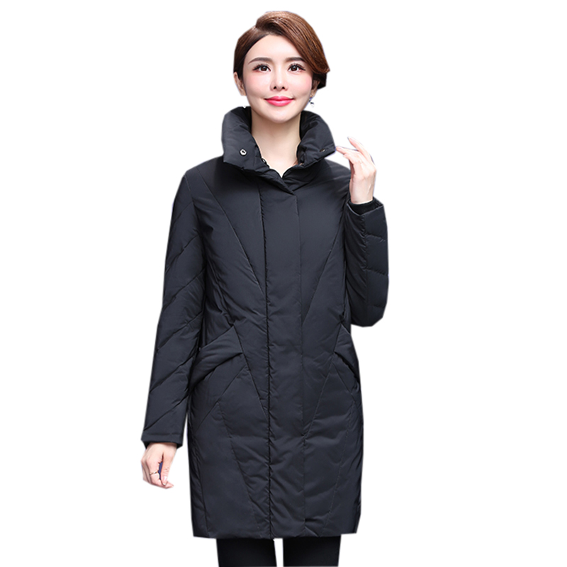 Women Black Stand Collar   Down   Jacket Winter 90% White Duck   Down     Coats   Female Casual Long Slimd   Down     Coats   Outwear YP2148