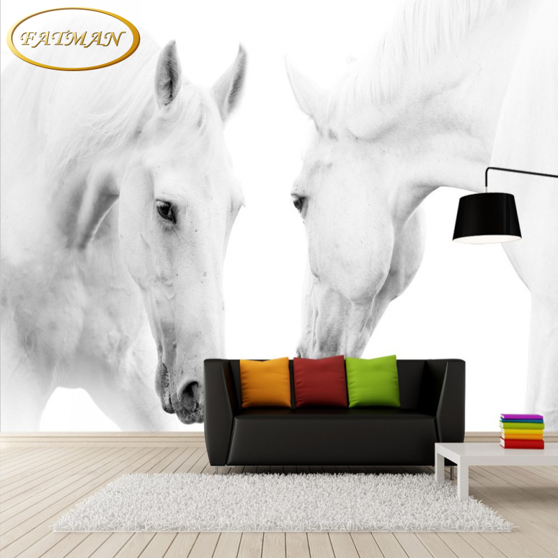 Custom 3D photo wallpaper Modern white horse mural bedroom lobby wallpaper for living room restaurant wallpaper papel de parede custom 3d photo wallpaper waterfall landscape mural wall painting papel de parede living room desktop wallpaper walls 3d modern