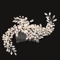 Handmade Vine Flower Crystal Diamante Pearl Flower Wedding Hair Clip Bridal Head Piece Casamento Cabelo