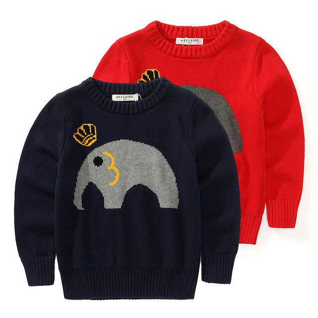 Bebé de la historieta del suéter de primavera y otoño 2017 niños niñas niños suéter patrón elefante niño tapa ocasional