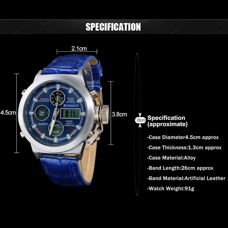 mens watches top brand luxury Quartz Dual Display Sport Military Digital watch men fashion waterproof watch new arrival 2019 in Quartz Watches from Watches