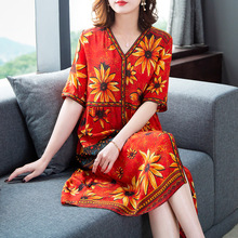 Silk dress 2019 summer new fashion print loose beach vestidos large size M-3XL high quality party elegant Dresses