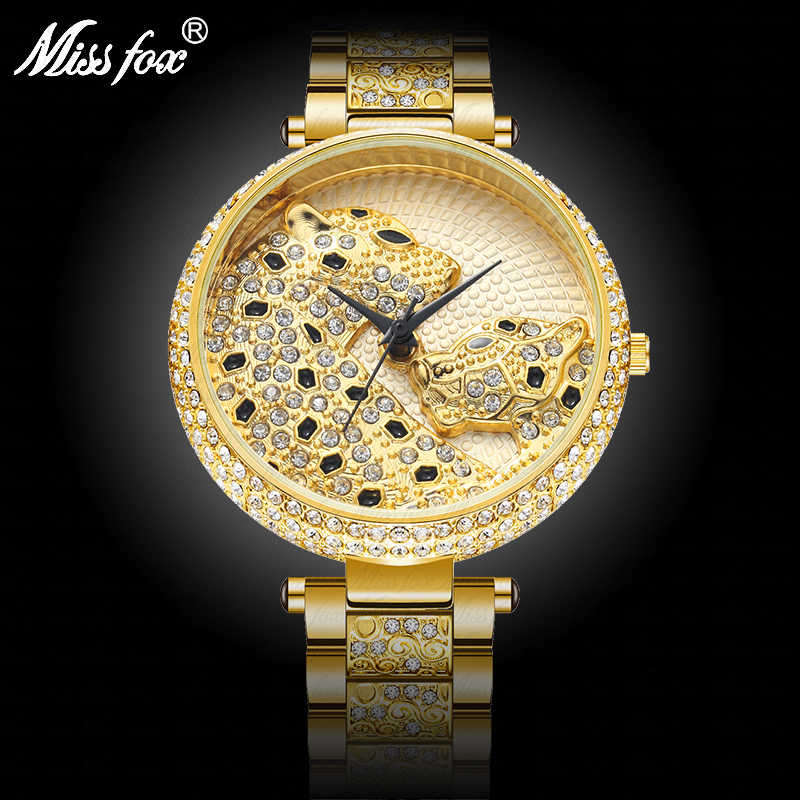 Rôle léopard diamant or femmes montres de mode dames montre décontracté MK chanceux nuages cristal strass femme Quartz montre-bracelet