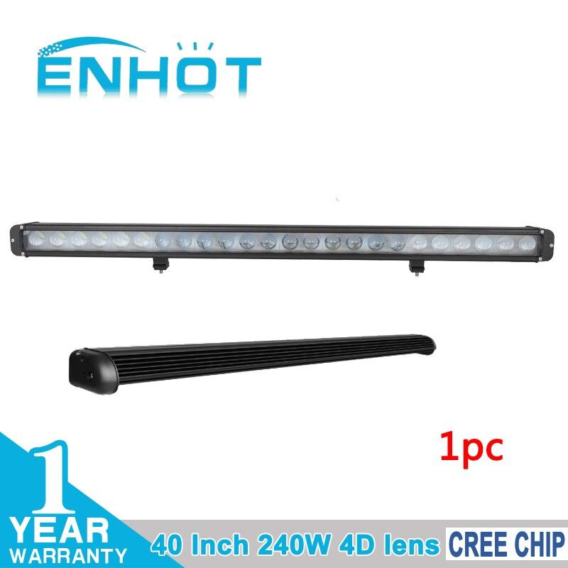 ENHOT 4D LENS 42 Single Row 240W Cree Led chip Work Light Bar 12V 4x4 Off