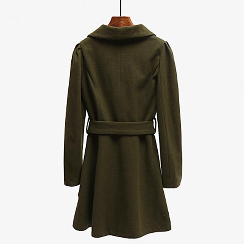 Thick Winter New Korean Version 2019 Long Solid Color Woolen Coat Lapel Casual Female Models