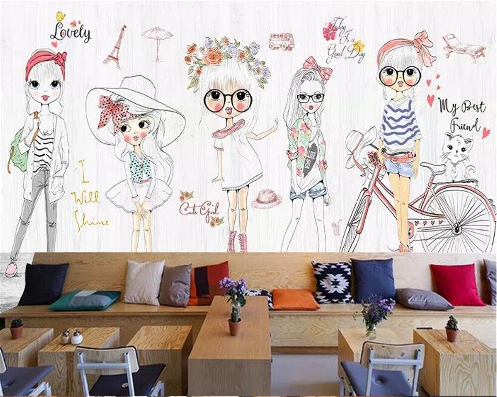 Beibehang Personalizado crianças 3d papel de parede menina dos desenhos animados desenhados à mão moda bicicleta cafe bar fundo papel de parede 3d papel de parede