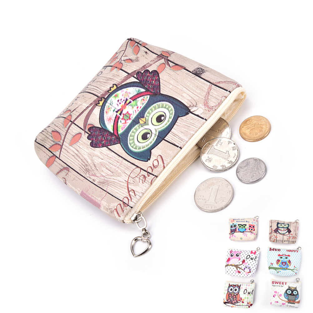 New Unisex Men Women PU Leather Zipper Coin Purse For Kids Cute Owl Small Coin Wallet Pouch Girls' Kawaii Animal Card Key Bag trendy women s coin purse with owl print and pu leather design