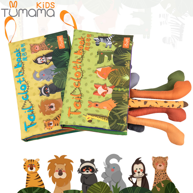 Tumama 2pcs/set Baby Toy Soft Cloth Book Animal Tails Newborn Fabric Book Rattle Mobile Stroller Hanging Early Educational Toys