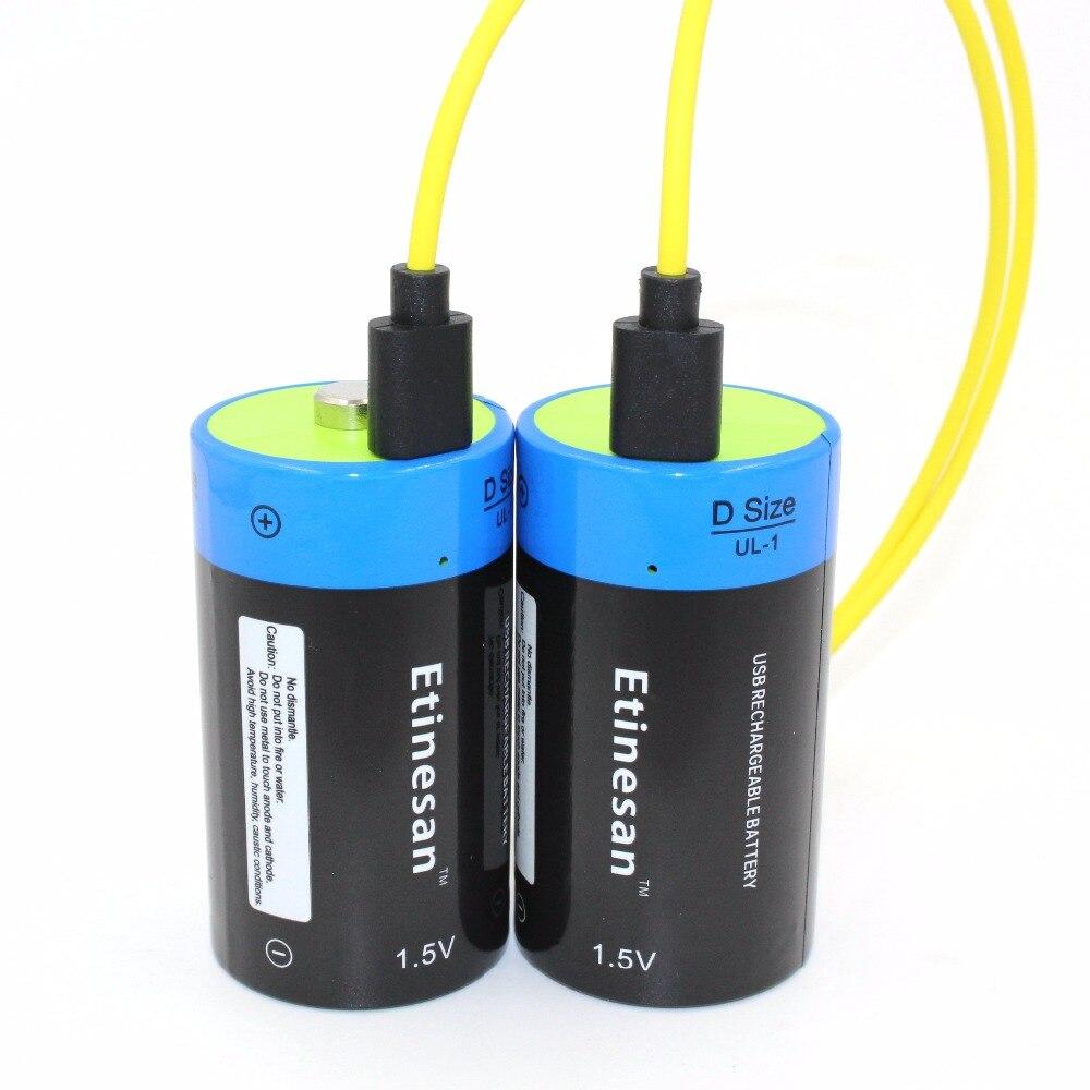 2 pcs 1.5 v Au Lithium li-polymère 9000mWh D taille rechargeable D batterie D type pour lampe de poche, chauffe-eau ect. + USB câble de recharge