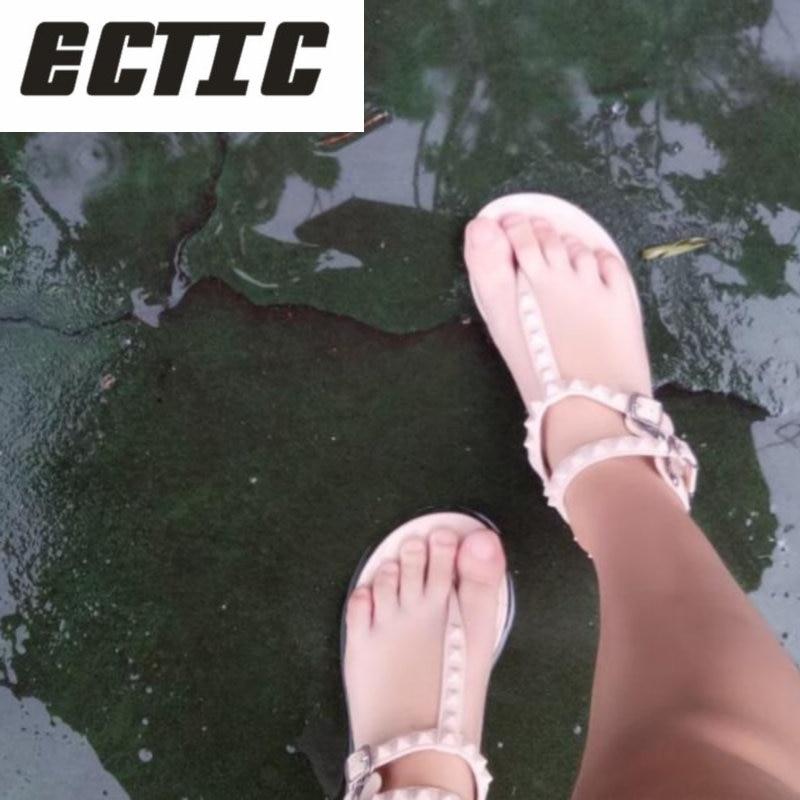 ECTIC 2018 Flat Heel Rivet Sandals Ladies Summer Beach Shoes Women High Heels Gladiator Sandles Zapatos Mujer Sandalias YA-30