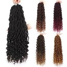 Вязанные крючком волосы для наращивания в богемном стиле Faux locs Curly вязанные крючком плетеные волосы богиня синтетические волосы Ombre Doris beauty