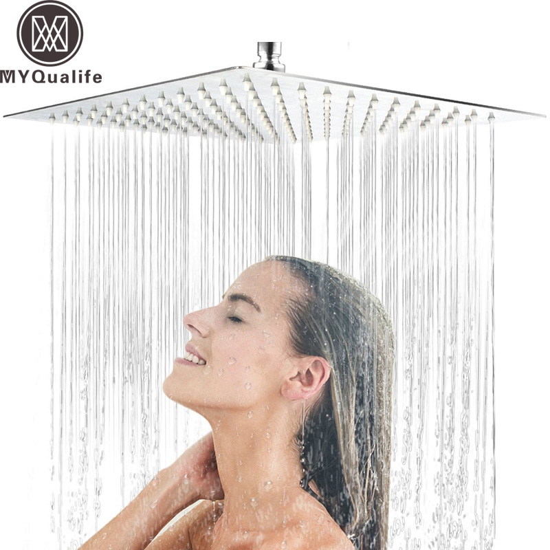 30cm * 30cm Stainless Steel Showerheads 12 inch Square Rainfall Shower Head Ultra-thin Rain Shower Faucet Head Chrome Finish flow ristrictor air booster 25% water save polish chrome stainless steel square high pressure 12 inch rain shower head