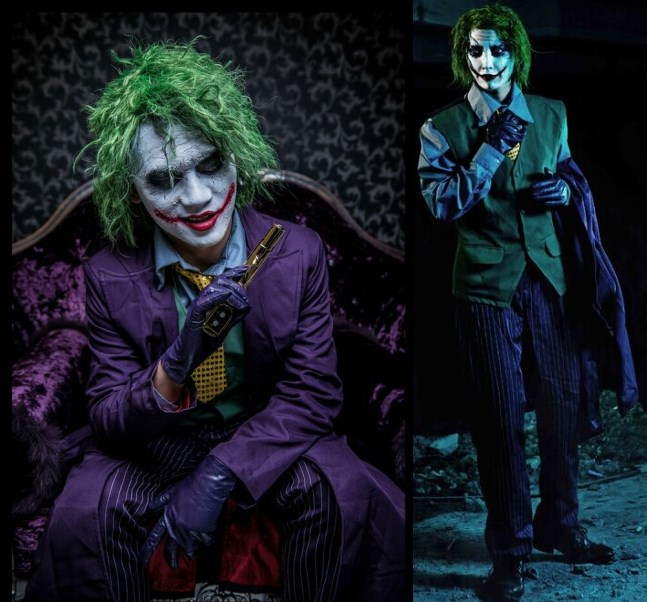 Batman The Dark Knight Joker Kostym Batman Joker Suit Outfits Klassisk Halloween Cosplay Movie Hero Kostym Full Set Custom Made