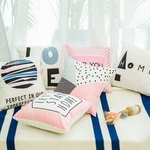 Nordic Geometric pink pillowcase Car cushion ins wind office sofa bedroom cute pillow Home decoration 45x45cm