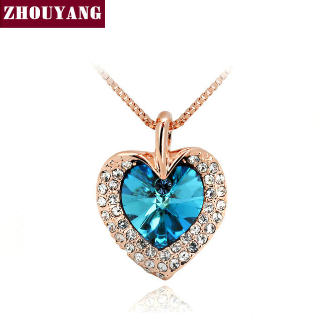 ZHOUYANG Top Quality Blue Crystal Leaf Heart Necklace Rose Gold Color Fashion Jewellery Nickel Free Pendant Crystal ZYN116