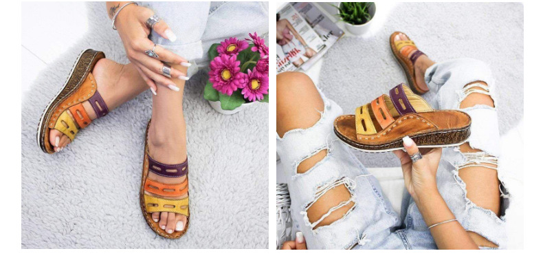 HTB1IzJ4bSSD3KVjSZFKq6z10VXar 2019 Chic Summer Women Lady Fashion Three-color Stitching Color Casual Low Wedge Heel Beach Open Peep Toe Sandals Slippers Shoes