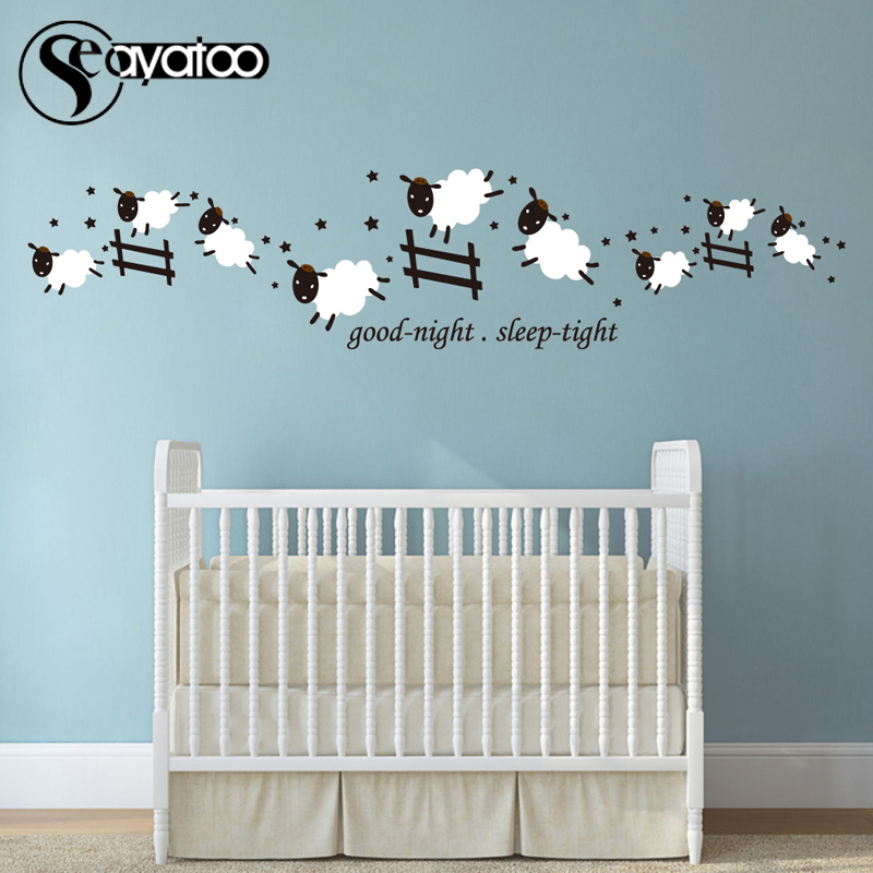 Count Jumping Sheep Good Night Sleep Tight Vinyl Wall Sticker Decal Kids Room Baby Nursery Stickers