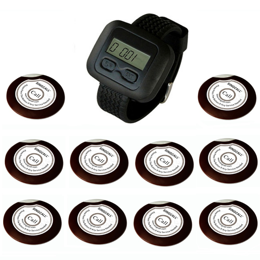 SINGCALL wireless calling pager systems, remote call button for kitchen, hotel, waiter service, 10 Bells and 1 receiver wireless waiter pager calling system for restaurant 1pcs receiver host 1pcs signal repeater 15pcs call button f3302b