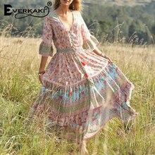 Everkaki Boho Floral Print Dress Women V Neck Adjustable Sashes Half Sleeve Long Bohemian Dresses Female 2019 Summer Autumn