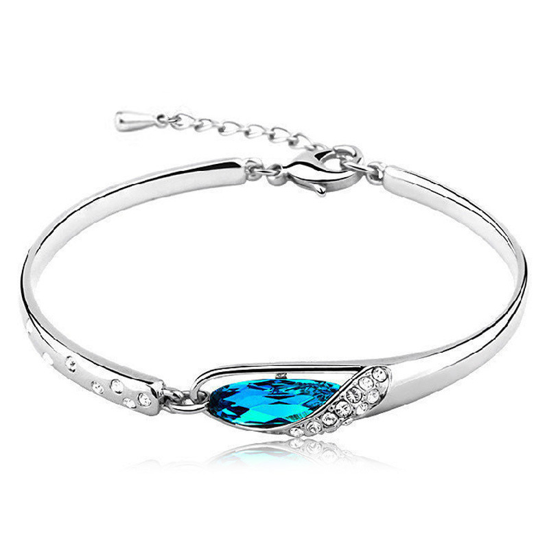 100 Sterling Silver 925 Jewelry Sea Blue Bracelets Bangles Top Quality Free Shipping