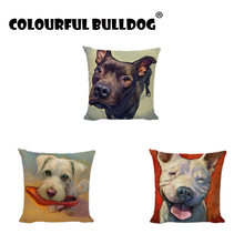 Black French Bulldog Throw Cushion Covers Schnauzer Bull Terrier Pug Pattern Home Decor Garden Girls Car Beds Gifts Pillow Cases(China)