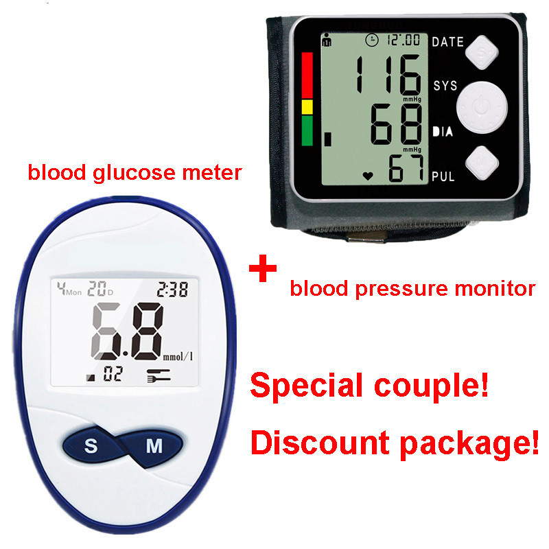 цена на Blood Glucose Meter With 25pcs Strips And Needles Lancets Blood Sugar+Automatic Digital Blood Pressure Monitor Wrist Tonometer