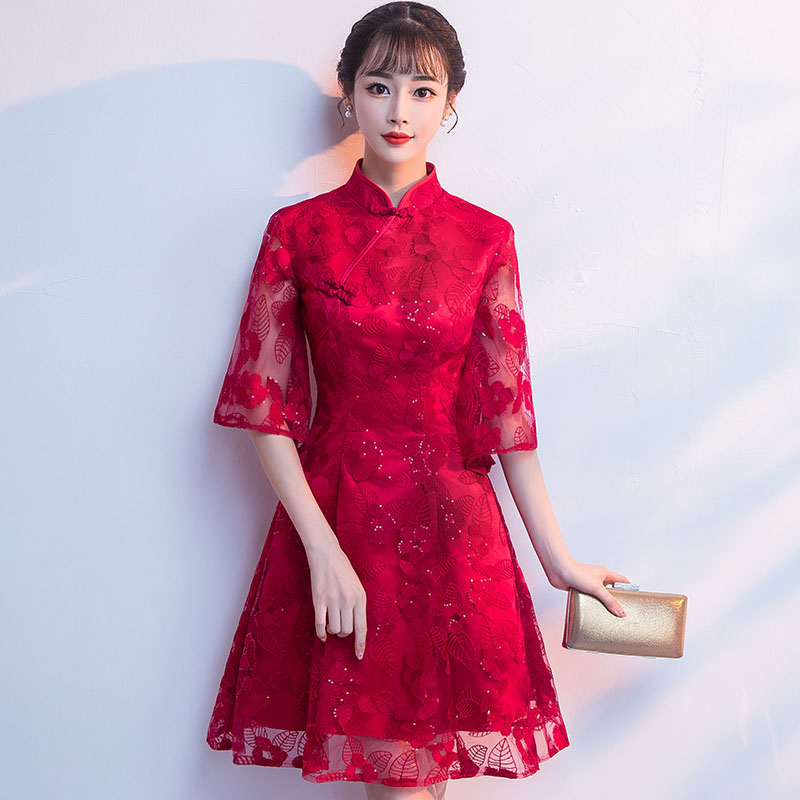 Vintage Lace Evening Gown Mandarin Collar Chinese Women   Cocktail     Dresses   Mini Sequins Robe De Soiree Bell Sleeve Prom   Dress