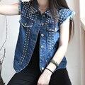 Caliente venta! 2015 mujeres vintage nueva moda sin mangas del chaleco de alta calidad chaleco remache punky distrressed chaleco de mezclilla