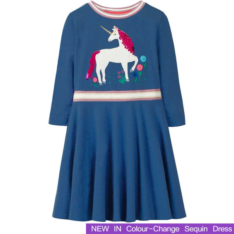 cedf2805246b Long Sleeve Girls Dresses With Animal Unicorn Girl Clothing 2018 New  Children Costume Kids Princess Clothes