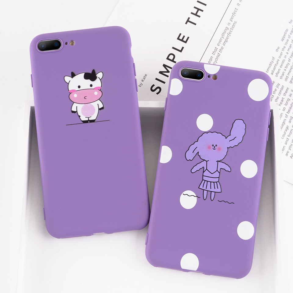 Phone Iphone 6 6S 7 8 Plus X Case Cartoon Cute Cow Rabbit Wave Point Soft TPU For Iphone 7 Phone Cover