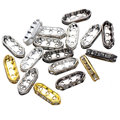 18*7mm Rhinestone Silver Gold Plated Metal Crystal Spacer Loose Beads with three holes 50pcs/lot RS-31