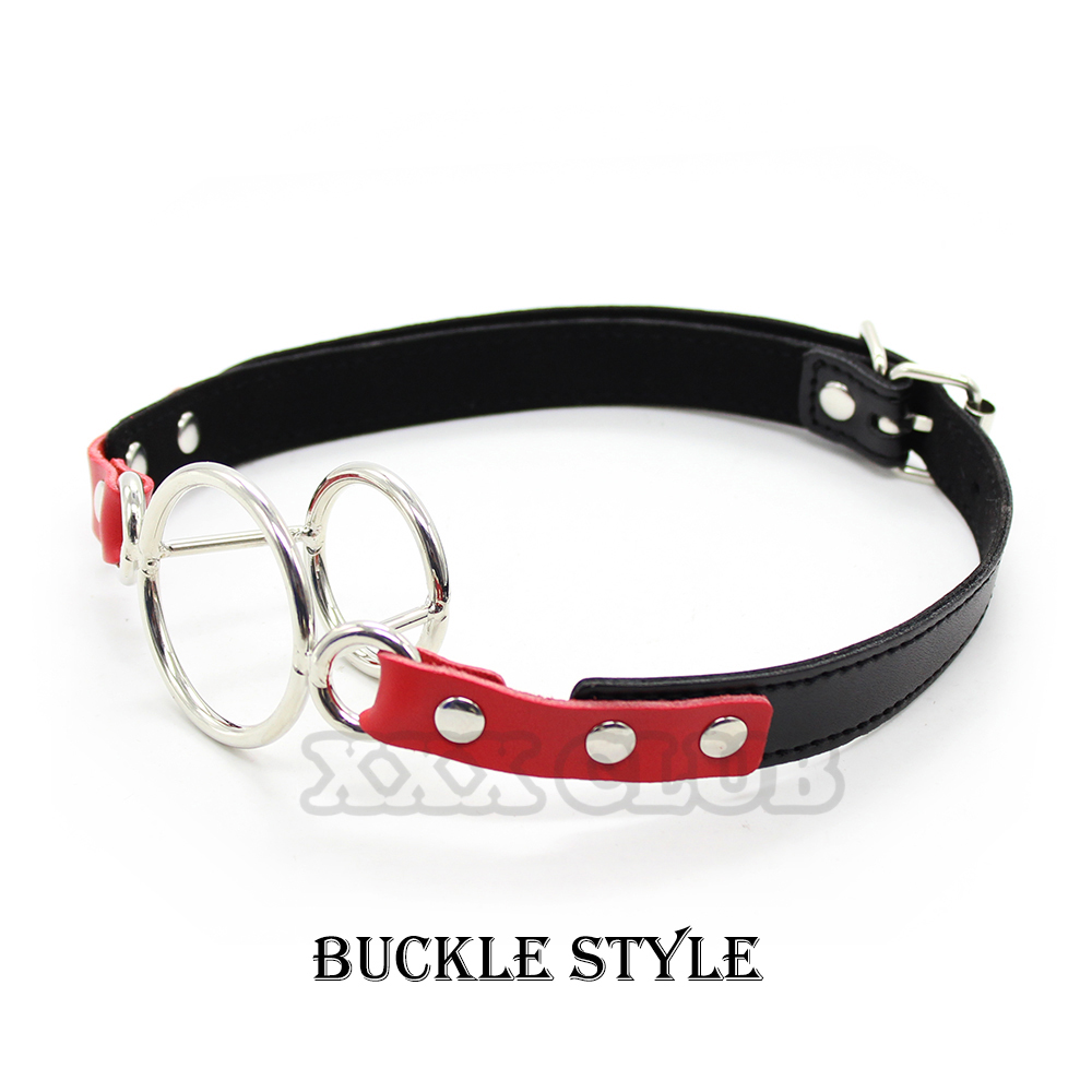 OPEN DEEP Mouth Gag throat head strap pu leather Stainless steel dual ring black