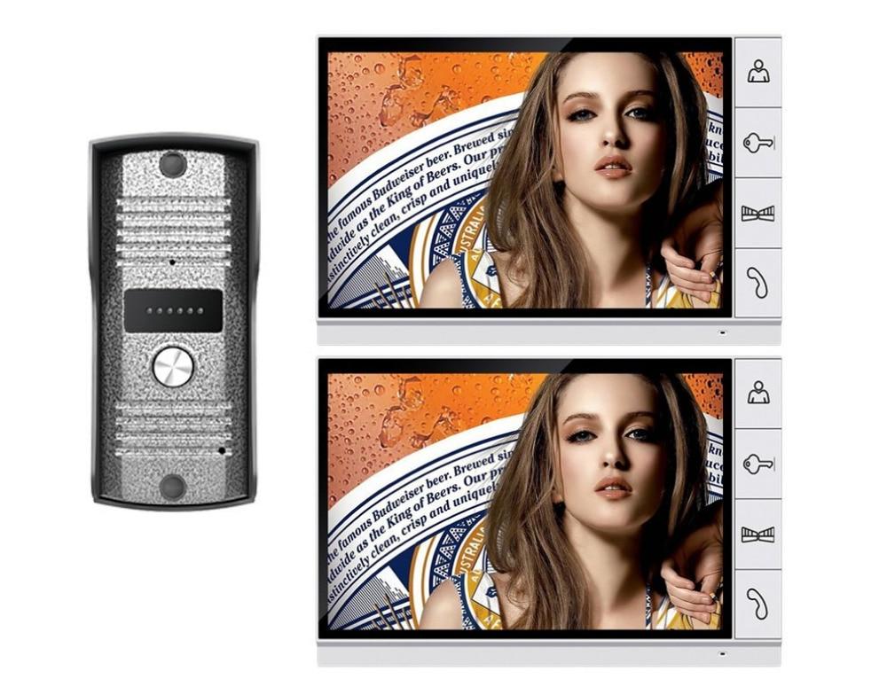9 LCD Big Monitor Wired Video Intercom Door Phone Doorbell system 700TVL IR Night Vision Camera DoorPhone 2-Monitor 1-Camera 4 3 color lcd video door phone wired intercom doorbell ir night vision camera monitor f4398b