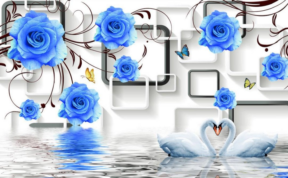 Blue Rose 3d Wallpaper Flower Papel Parede Mural Murals For Living Room In Wallpapers From Home Improvement On Aliexpress