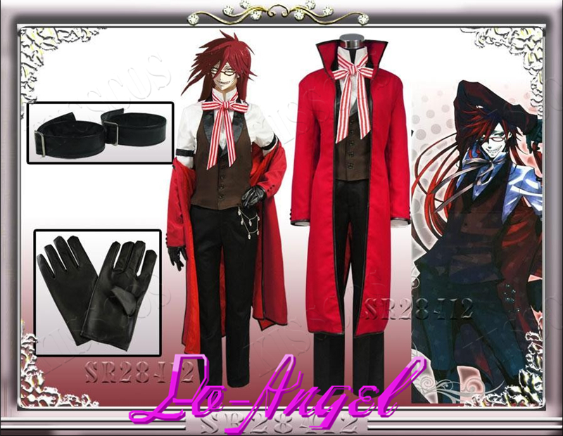 Black Butler 2 Grell Sutcliff Kuroshitsuji Red Death Cosplay Halloween Party Costume Customized Size