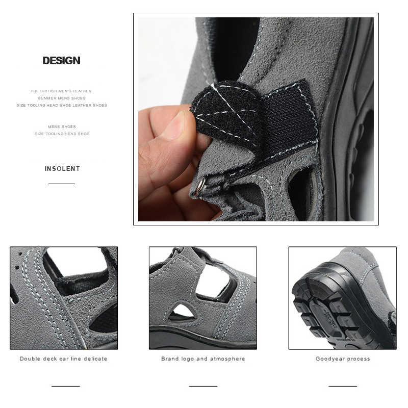 Çizmeler Erkek ışıklı ayakkabı Yaz Nefes kaymaz Aşınmaya dayanıklı Güvenlik Sandalet Anti-smashing Anti-delinme iş ayakkabısı