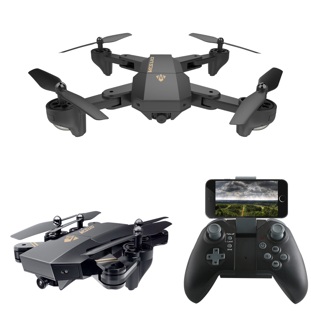 RC Dron Visuo XS809W XS809HW Mini Foldable Selfie Drone with Wifi FPV 0.3MP or 2MP Camera Altitude Hold Quadcopter Vs JJRC H37 foldable rc quadcopter lh x24 wifi fpv 480p 720p wide angle camera 2 4g selfie drone with led light altitude hold vs xs809w x8w